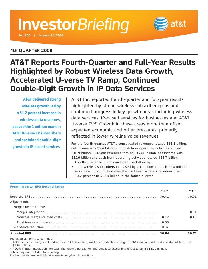 InvestorBriefing          No. 263 | January 28, 2009    4th QUARTER 2008  AT&T Reports Fourth-Quarter and Full-Year Result...