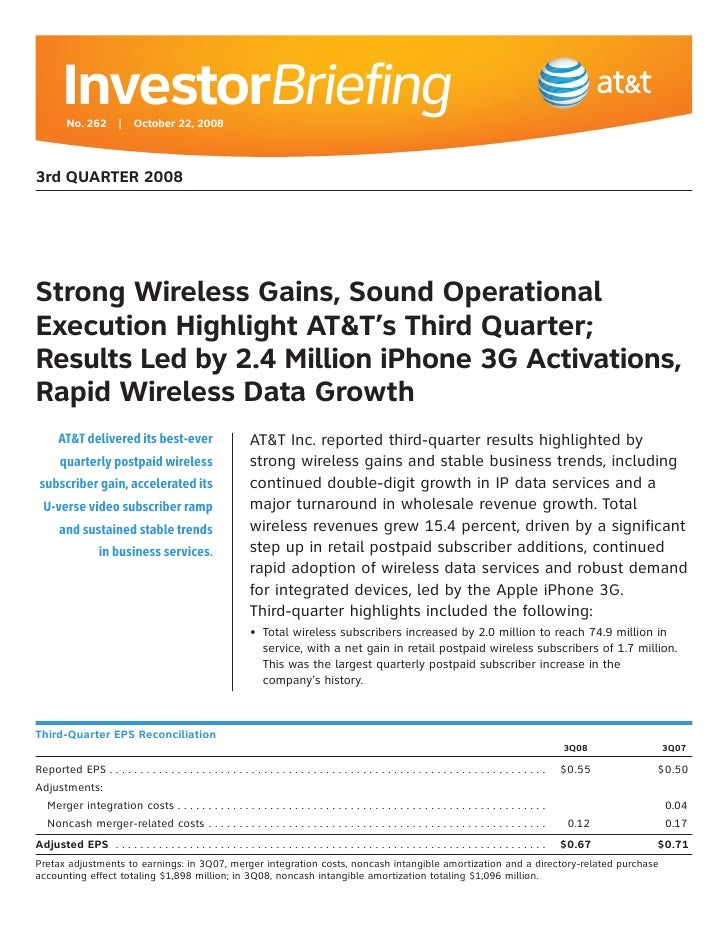 InvestorBriefing          No. 262 | October 22, 2008    3rd QUARTER 2008     Strong Wireless Gains, Sound Operational Exec...