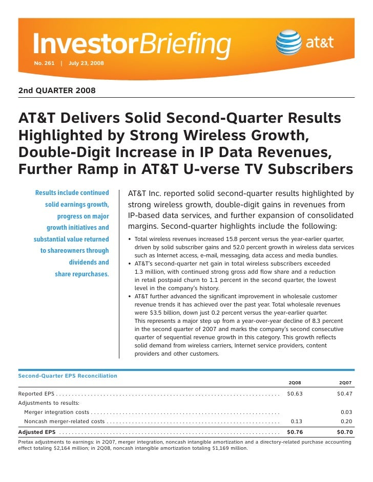 AT&T Quarterly Earnings - 2Q 2008