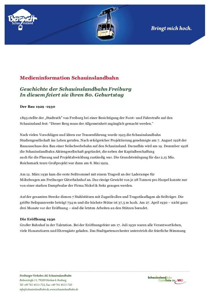 Medieninformation SchauinslandbahnGeschichte der Schauinslandbahn FreiburgIn diesem feiert sie ihren 80. GeburtstagDer Bau...