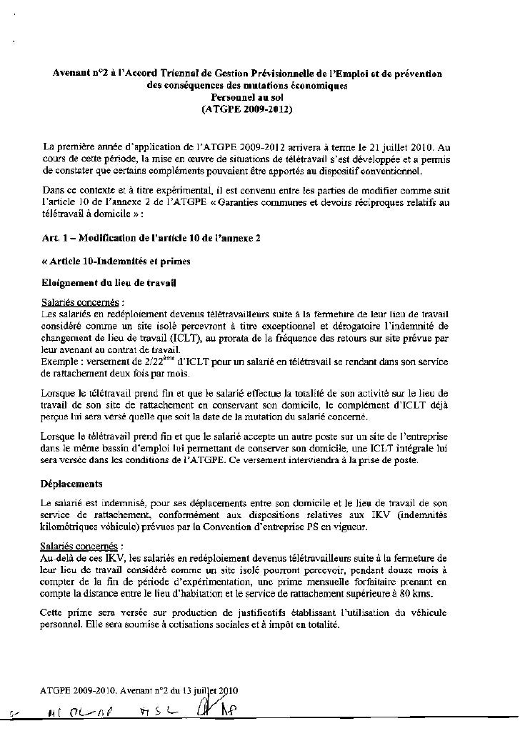 100713 Air France-avenant accord télétravail