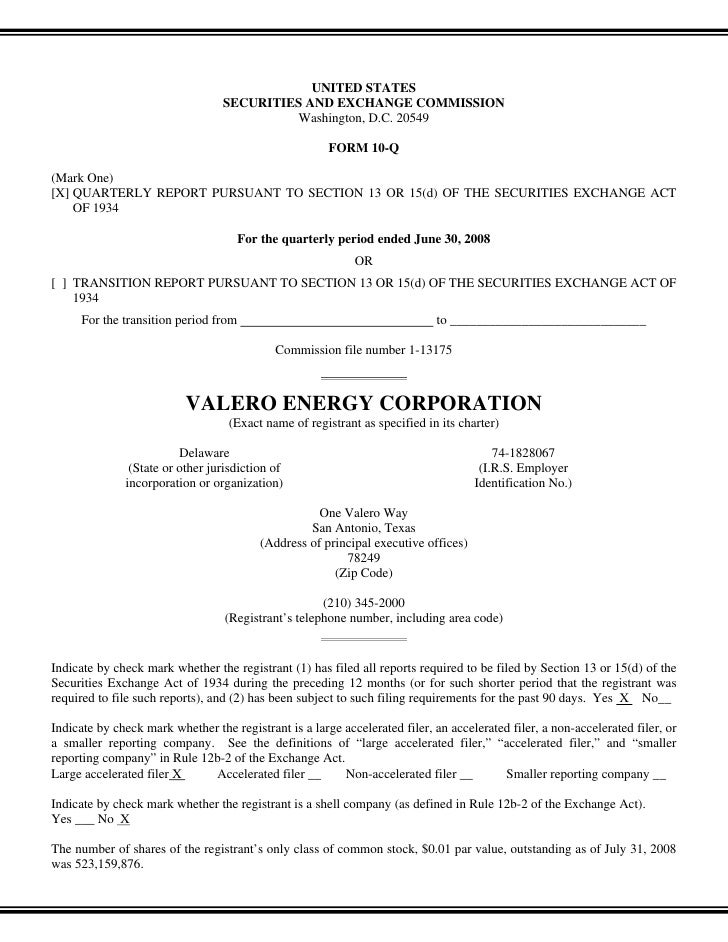 valero energy  Quarterly and Other SEC Reports  2008 2nd