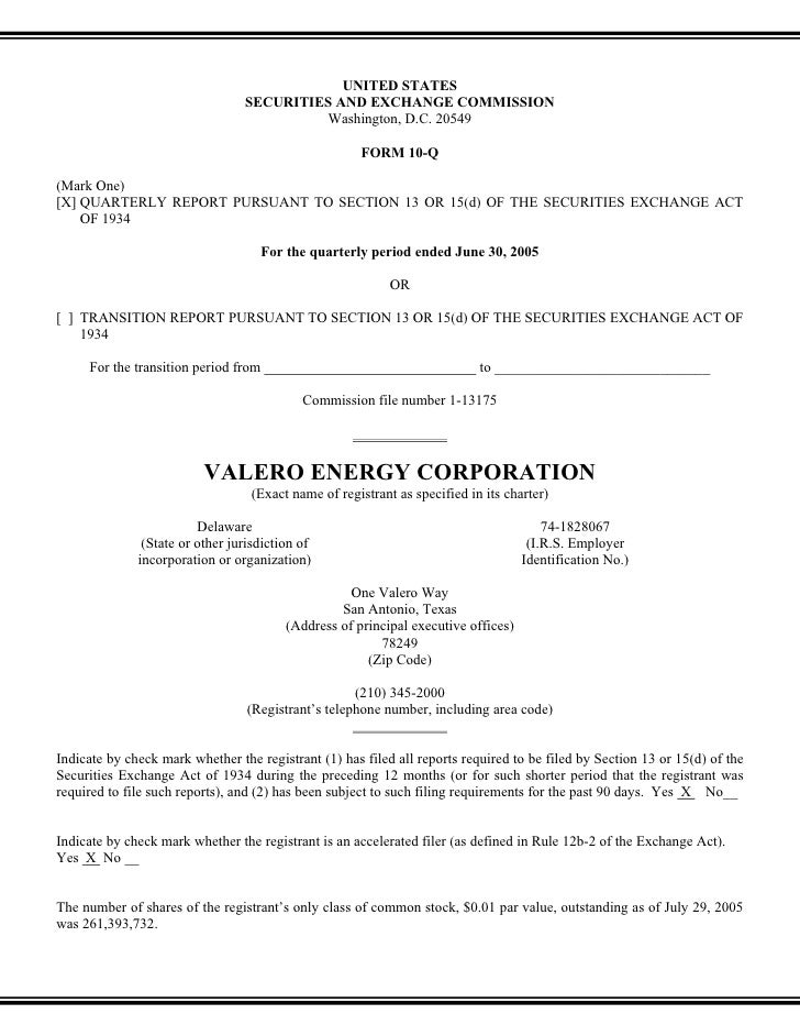 valero energy  Quarterly and Other SEC Reports 2005 2nd