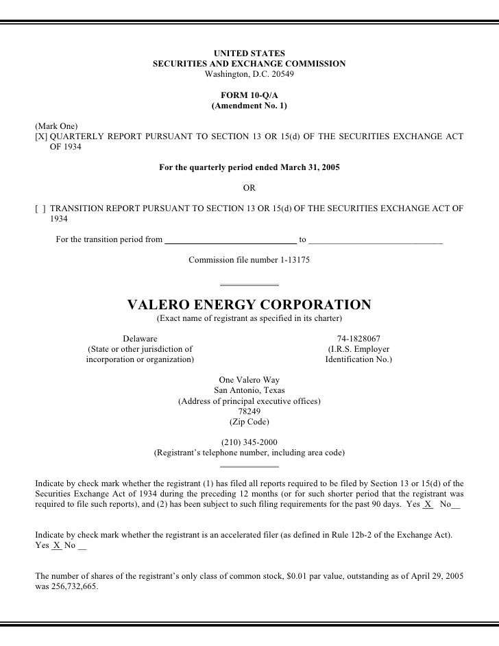 valero energy  Quarterly and Other SEC Reports 2005 1st
