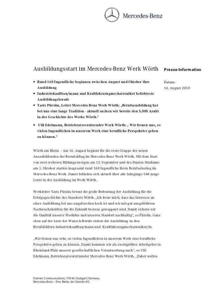 Ausbildungsstart im Mercedes-Benz Werk Wörth                                      Presse-Information• Rund 160 Jugendliche...
