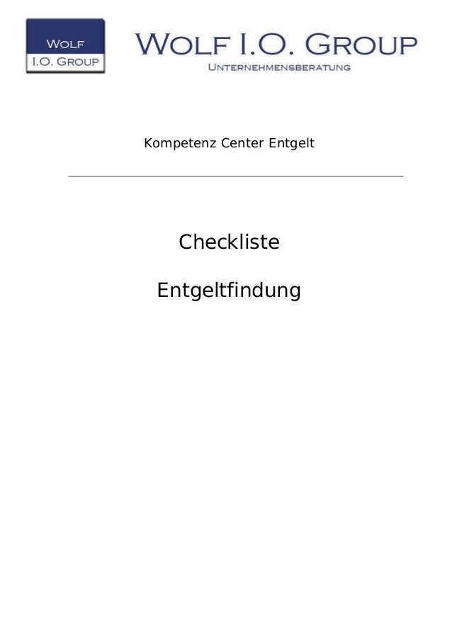 Kompetenz Center Entgelt Checkliste Entgeltfindung