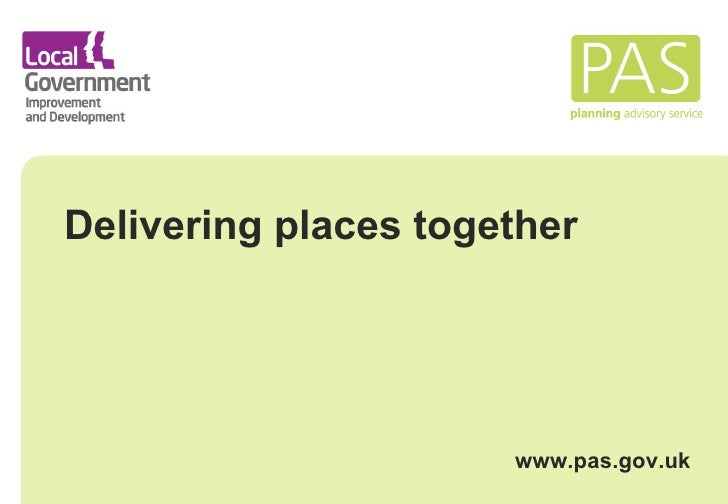 Delivering places together: support for spatial planning