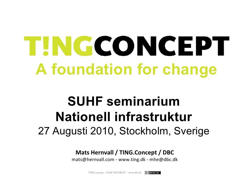 A foundation for change     SUHF seminarium    Nationell infrastruktur 27 Augusti 2010, Stockholm, Sverige        Mats Her...