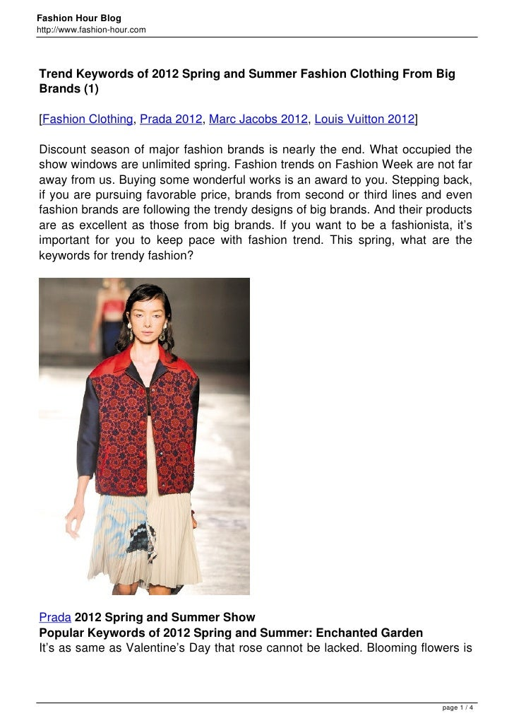 Fashion Hour Bloghttp://www.fashion-hour.comTrend Keywords of 2012 Spring and Summer Fashion Clothing From BigBrands (1)[F...