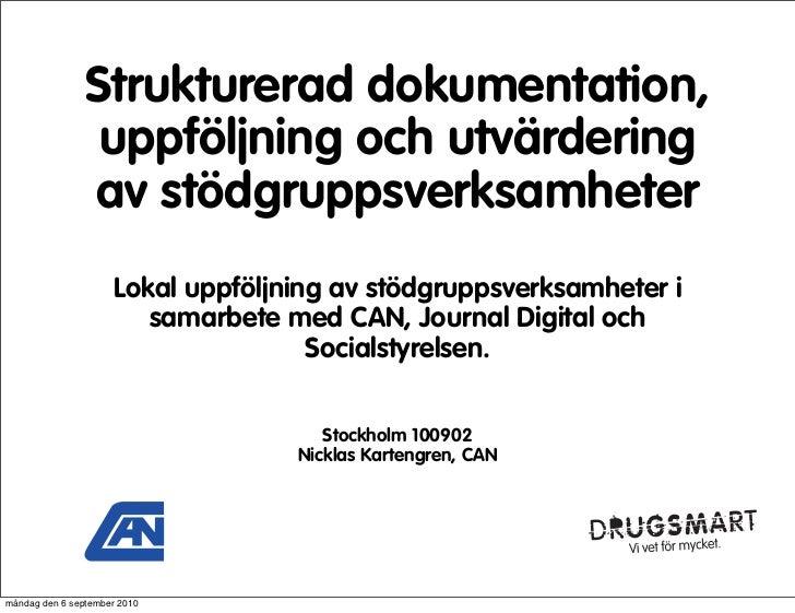 Strukturerad dokumentation,                  uppföljning och utvärdering                 av stödgruppsverksamheter        ...