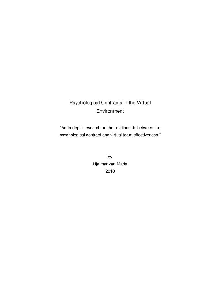 Psychological contracts in the virtual environment