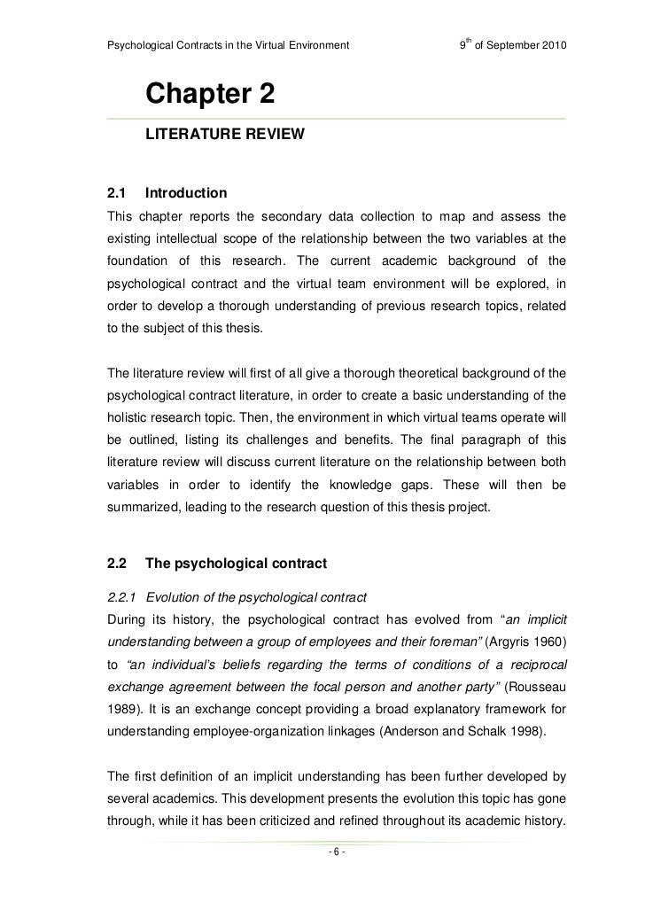 thesis on psychological contracts In this article we analyse the different ways in which psychological contracts are measured on the basis of criteria for measurement and scale development psychological contract measurements are put to a test the criteria are related to the way the measurement is developed and evaluated, and the.