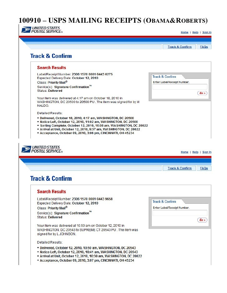 100910 – USPS MAILING RECEIPTS (OBAMA&ROBERTS)