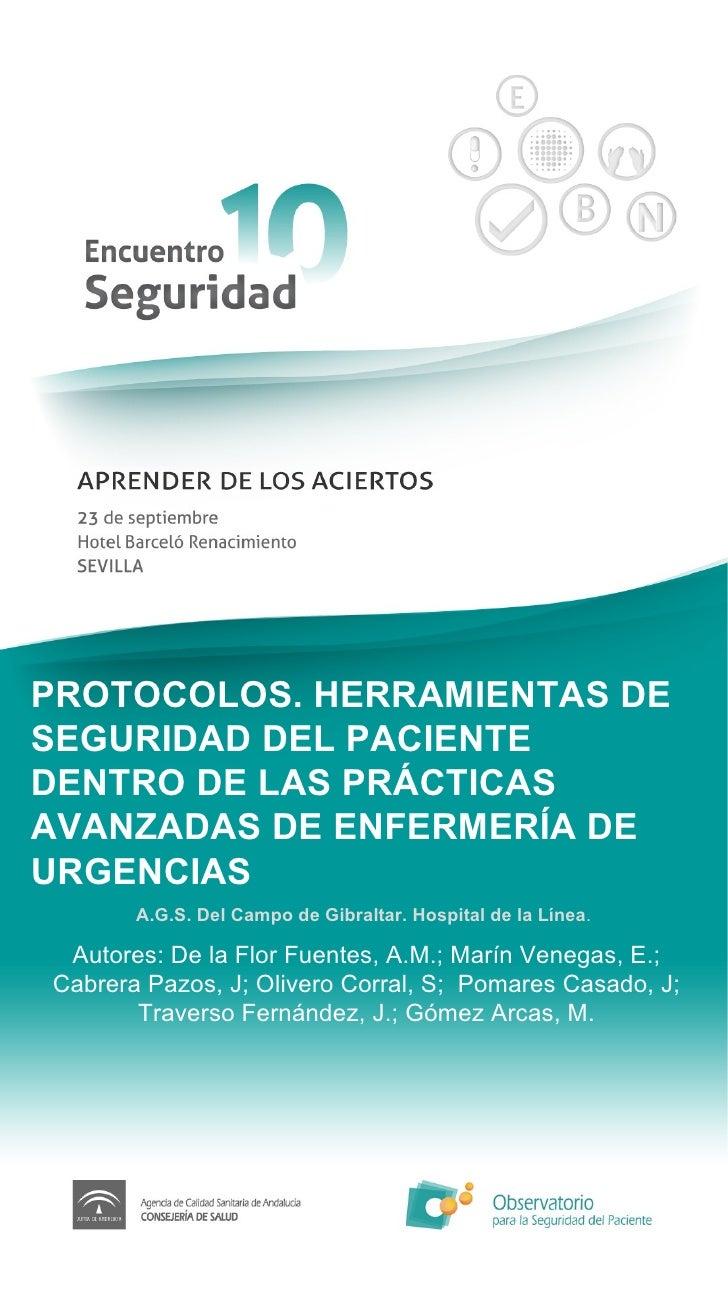 Protocolos. Herramientas de seguridad del paciente dentro de las prácticas avanzadas de enfermería de urgencias