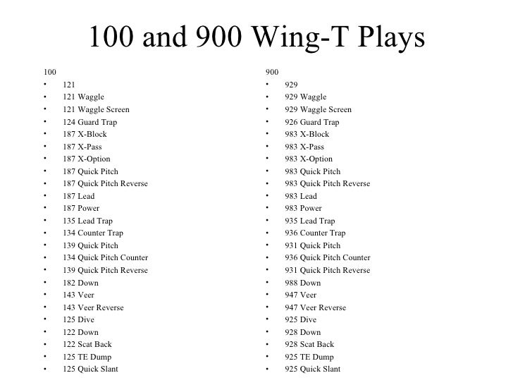 100 And 900 Wing T P