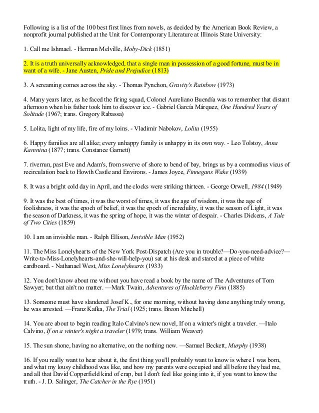 Following is a list of the 100 best first lines from novels, as decided by the American Book Review, anonprofit journal pu...