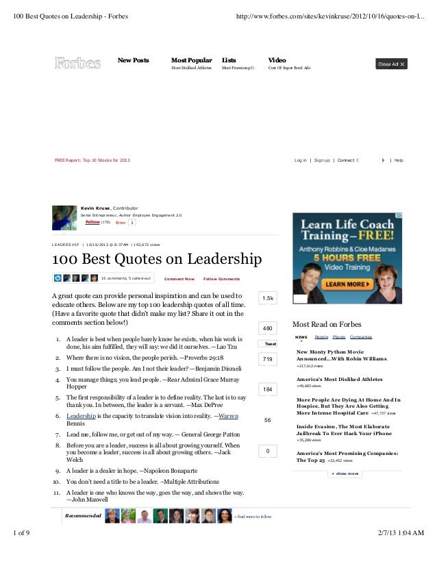 100 Best Quotes on Leadership - Forbes                                                                  http://www.forbes....