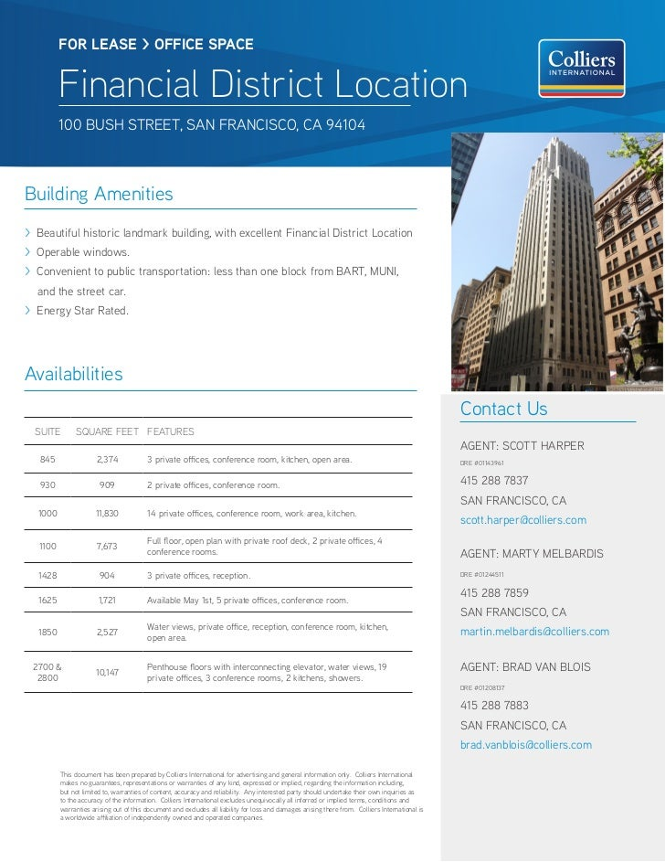 FOR LEASE > OFFICE SPACE          Financial District Location          100 BUSH STREET, SAN FRANCISCO, CA 94104Building Am...