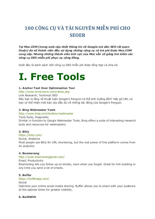 100 công cụ và tài nguyên miễn phí cho SEOER