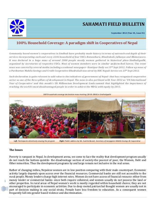 1SAHAMATI FIELD BULLETINSeptember 2012 (Year #1, Issue #1)100% Household Coverage: A paradigm shift in Cooperatives of Nep...