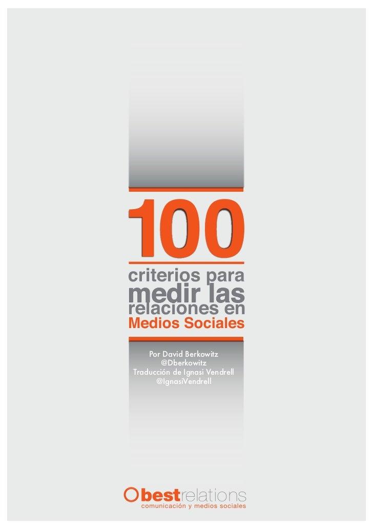 100 criterios para medir las relaciones en medios sociales