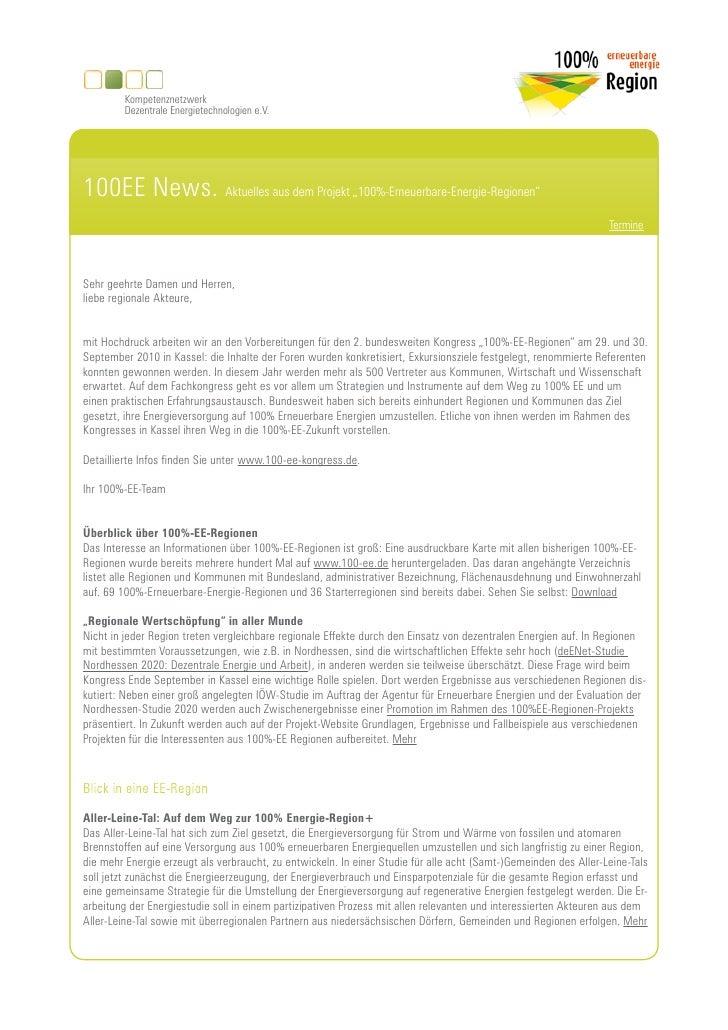 """Kompetenznetzwerk          Dezentrale Energietechnologien e.V.     100EE News. Aktuelles aus dem Projekt """"100%-Erneuerbare..."""