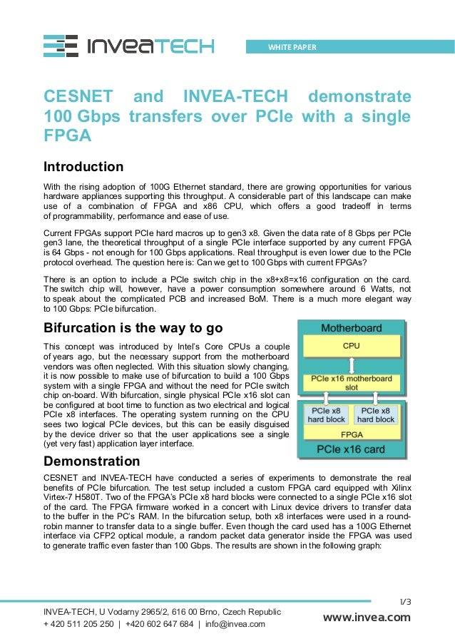 1/3 WHITE PAPER www.invea.com CESNET and INVEA-TECH demonstrate 100 Gbps transfers over PCIe with a single FPGA Introducti...