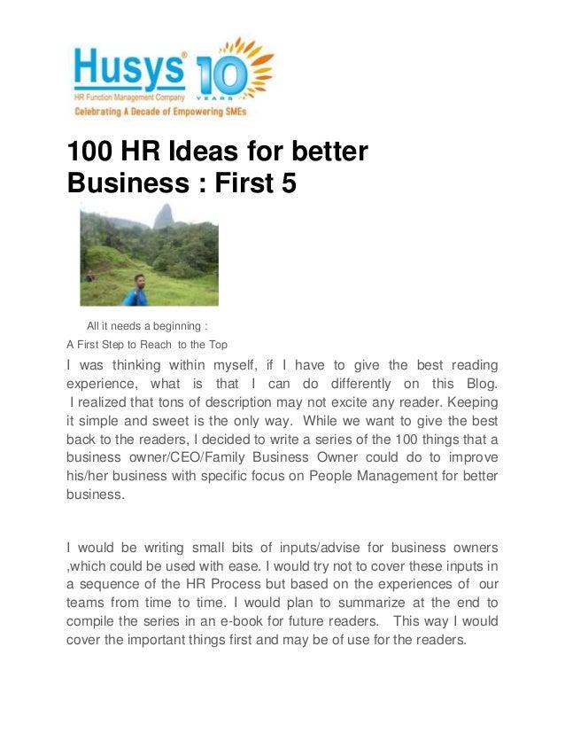 100 hr ideas for better business