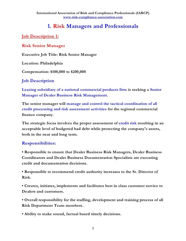 Financial risk manager how to get a job in risk management - Compliance officer position description ...