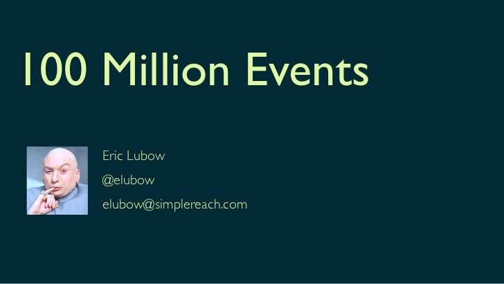 100 Million Events    Eric Lubow    @elubow    elubow@simplereach.com
