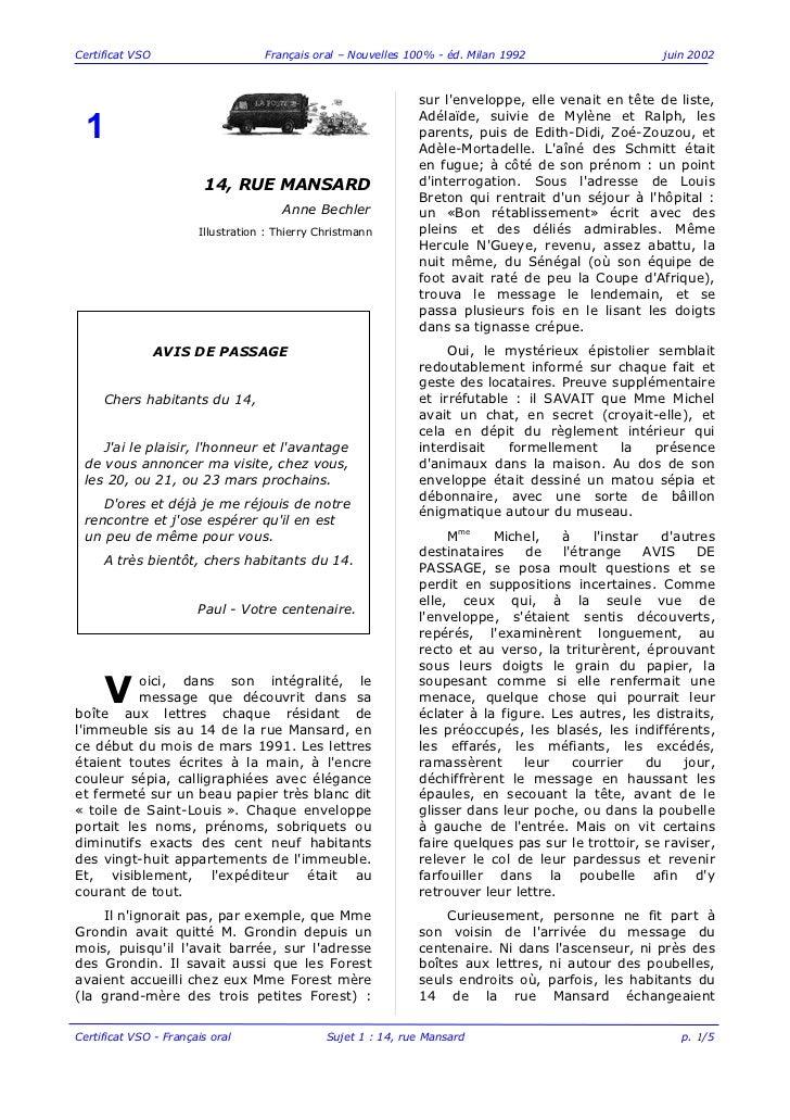 Certificat VSO                     Français oral – Nouvelles 100% - éd. Milan 1992                    juin 2002           ...