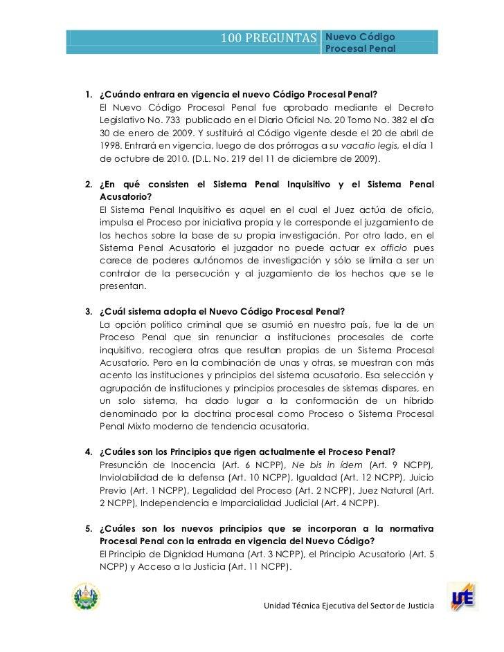 100 PREGUNTAS              Nuevo Código                                                          Procesal Penal1. ¿Cuándo ...