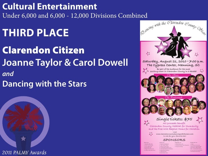 Cultural EntertainmentUnder 6,000 and 6,000 - 12,000 Divisions CombinedTHIRD PLACEClarendon CitizenJoanne Taylor & Carol D...