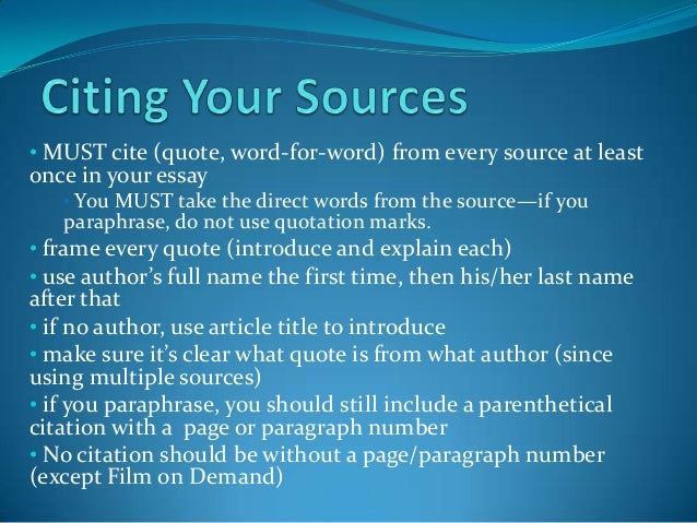 Citing sources in an essay