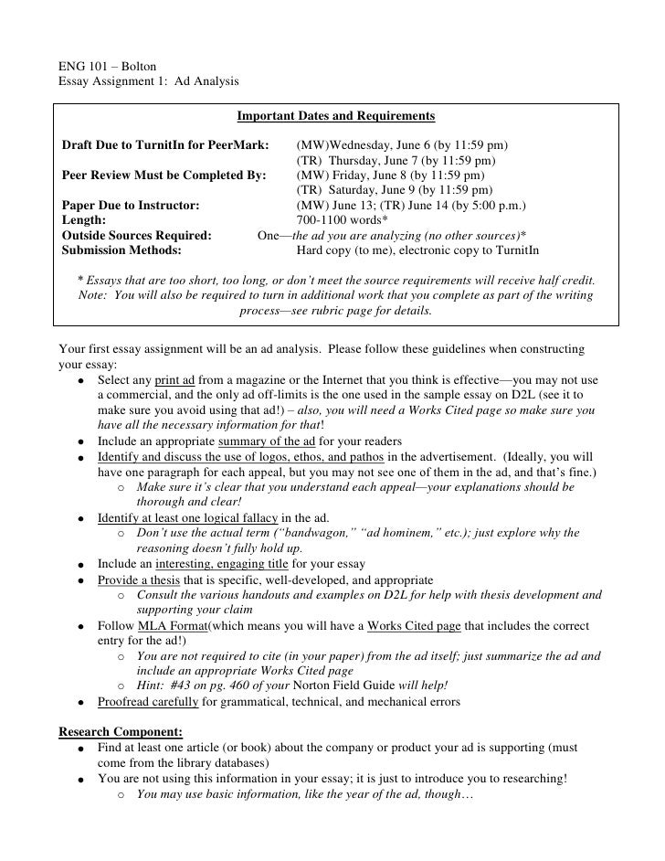 advertisement analysis essays
