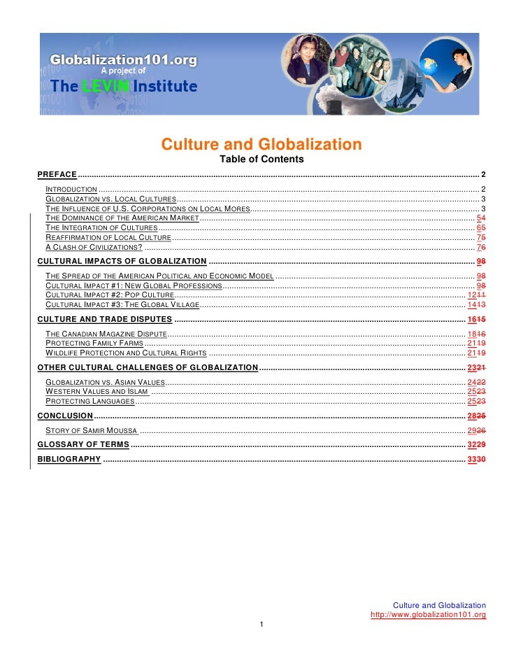 Culture and Globalization                                                                            Table of Contents PRE...