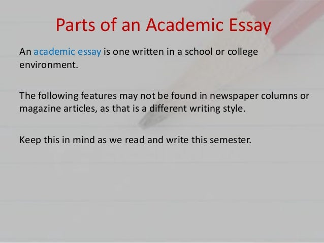 3 parts of an academic essay