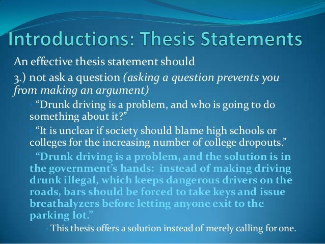 Creating a thesis statement for a research paper