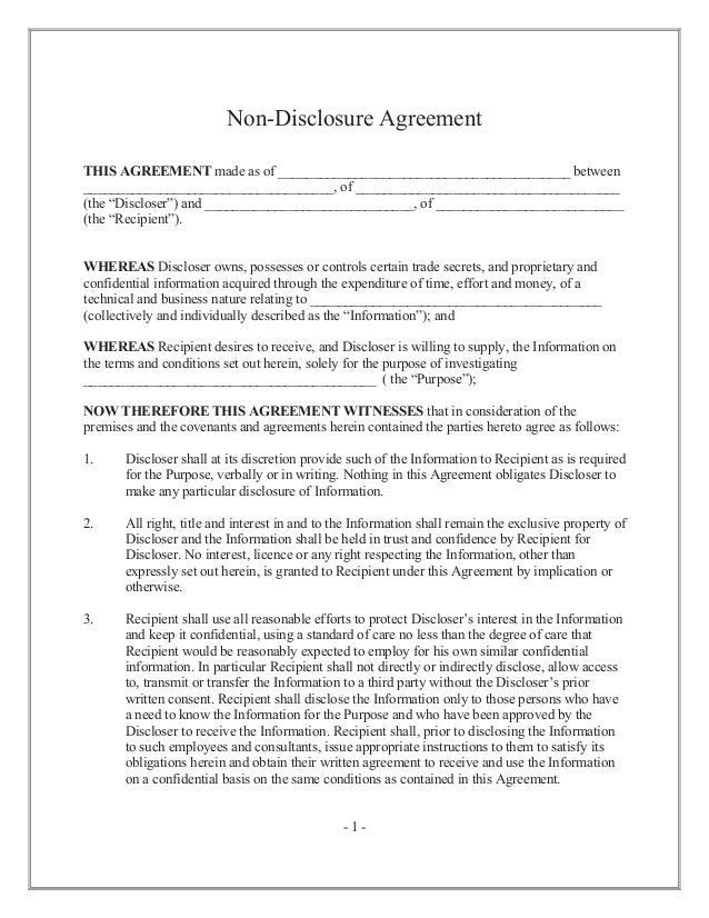 Non Disclosure Agreement Or Confidentiality Agreement