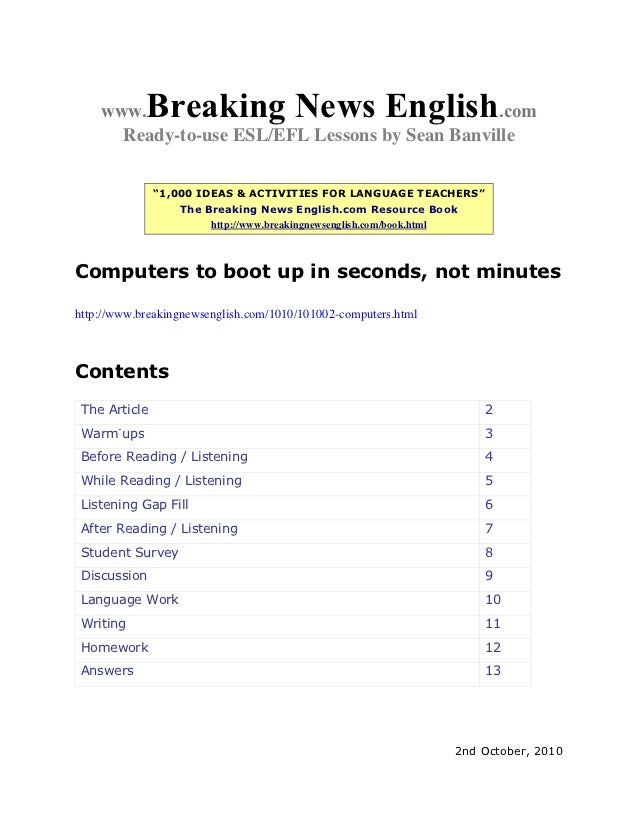 "www.    Breaking News English               .com      Ready-to-use ESL/EFL Lessons by Sean Banville               ""1,000 I..."