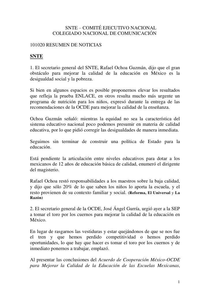SNTE – COMITÉ EJECUTIVO NACIONAL            COLEGIADO NACIONAL DE COMUNICACIÓN  101020 RESUMEN DE NOTICIAS  SNTE  1. El se...