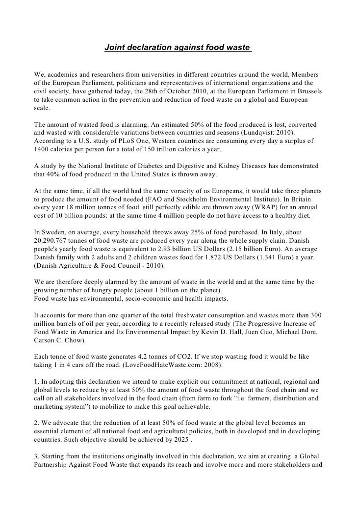 Joint declaration against food wasteWe, academics and researchers from universities in different countries around the worl...