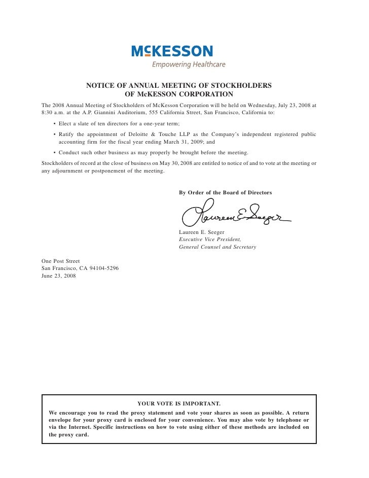 NOTICE OF ANNUAL MEETING OF STOCKHOLDERS                             OF McKESSON CORPORATION The 2008 Annual Meeting of St...
