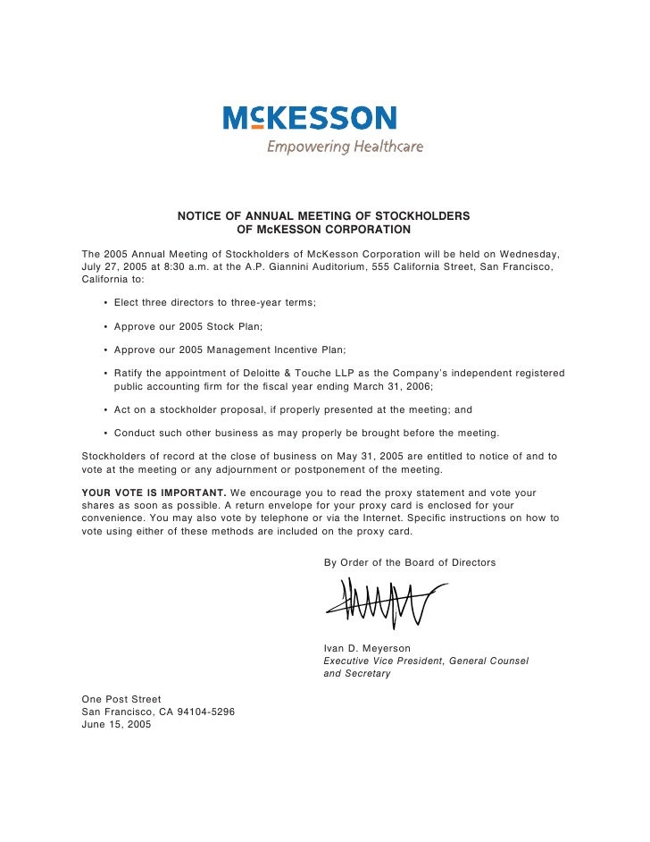 NOTICE OF ANNUAL MEETING OF STOCKHOLDERS                            OF McKESSON CORPORATION  The 2005 Annual Meeting of St...