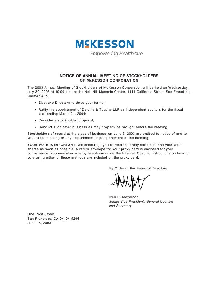 NOTICE OF ANNUAL MEETING OF STOCKHOLDERS                            OF McKESSON CORPORATION The 2003 Annual Meeting of Sto...