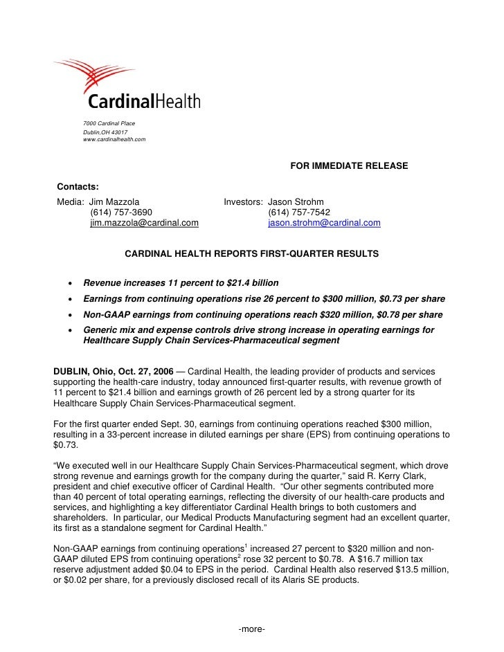 cardinal health 	Q1 2007 Earnings Release