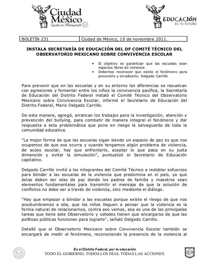 Instala Secretaría de Educación del D.F. comité técnico del Observatorio Mexicano sobre Convivencia Escolar.