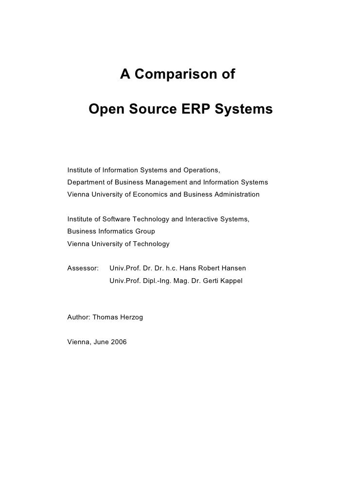 Open ERP comparision