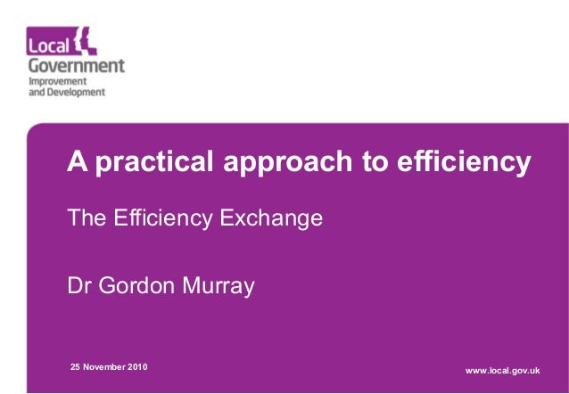 A practical approach to efficiency The Efficiency Exchange Dr Gordon Murray 25 November 2010 www.local.gov.uk