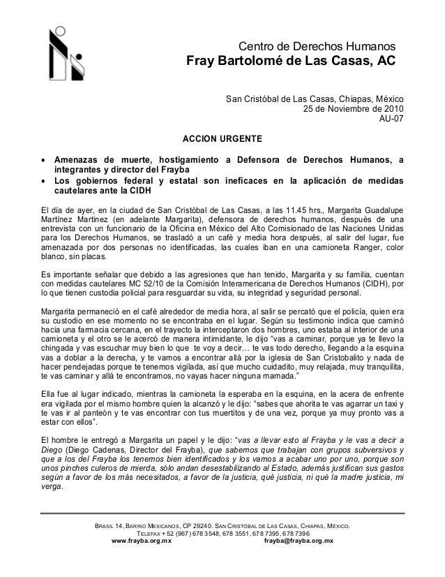 Centro de Derechos Humanos Fray Bartolomé de Las Casas, AC BRASIL 14, BARRIO MEXICANOS, CP 29240. SAN CRISTÓBAL DE LAS CAS...